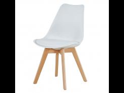 Lily Spisebordsstol - Hvid med lyse ben