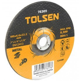 """Tolsen Skæreskive til vinkelsliber metal - 230x6.0mm - 9""""x1/4"""" - centerhul 22.2mm - 7/8""""- - Industriel"""
