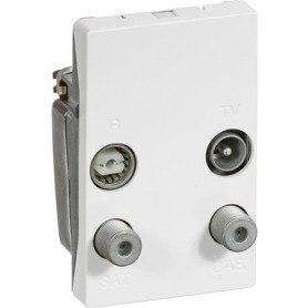 Triax TD 254D FUGA antenne vægdåse, TV/FM/SAT/DAB, hvid