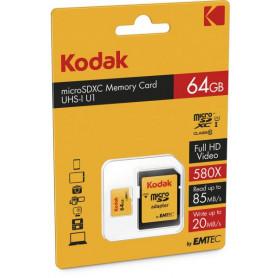KODAK 64GB Premium MicroSDXC Class 10 / UHS-I / U1 Hukommelseskort med SD Adapter